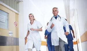 doctors and nurses running