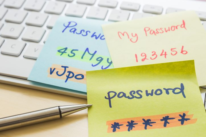passwords written on post-it notes